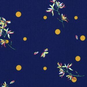 Tkanina Drukowana Bluzkowa Kwiaty Kropka Musztarda Granat Tło