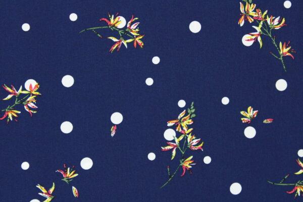 Tkanina Drukowana Bluzkowa Kwiaty Kropka Biała Granat Tło