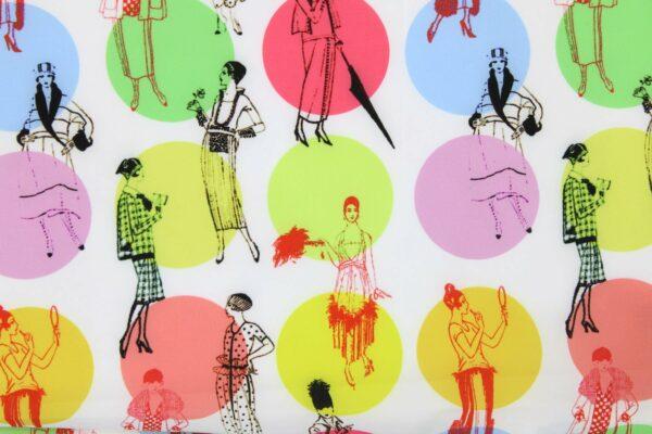 Tkanina Drukowana Bluzkowa Ilustracja Fashion Vintage