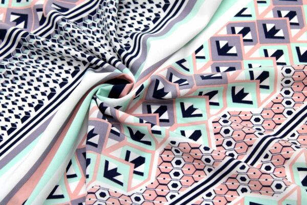 Tkanina Drukowana Bluzkowa Geometryczny Wzór Róż Mięta