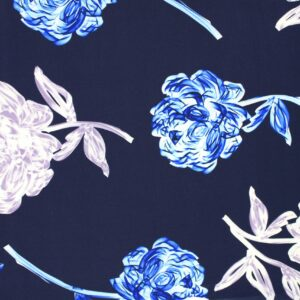 Tkanina Drukowana Bluzkowa Kwiaty Granatowe Tło