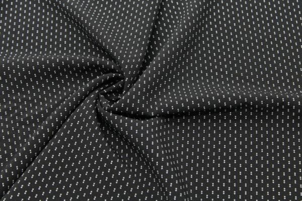 Tkanina Drukowana Bluzkowa Kropki Czarny Tło