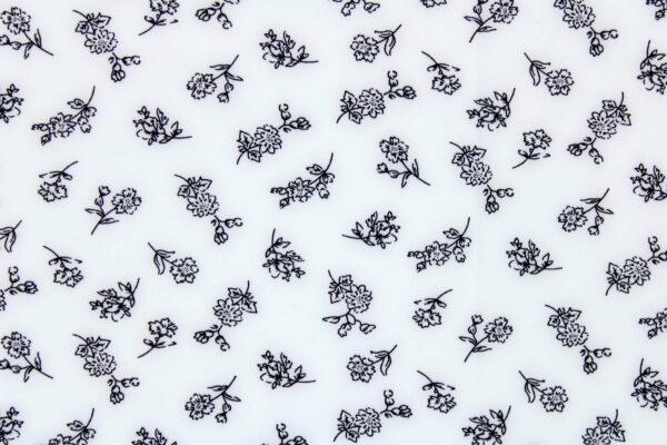 Tkanina Drukowana Bluzkowa Czarne Kwiaty Białe Tło