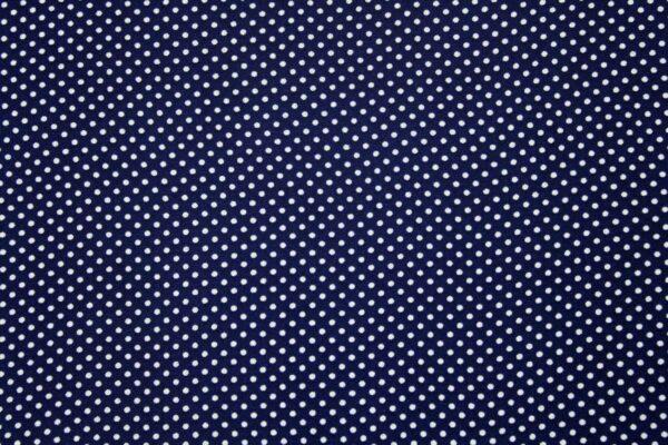 Ткань Шифон Принт Drobne Белый Горошки Синий Фон