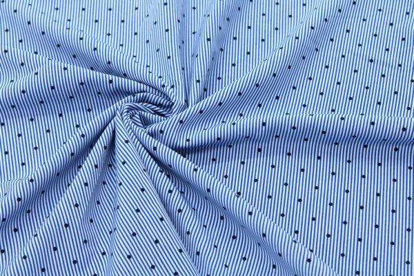 Ткань Принт Чёрный Горошки Голубой Полоски