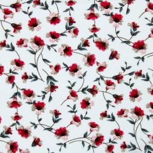 Ткань Принт Красные Цветы