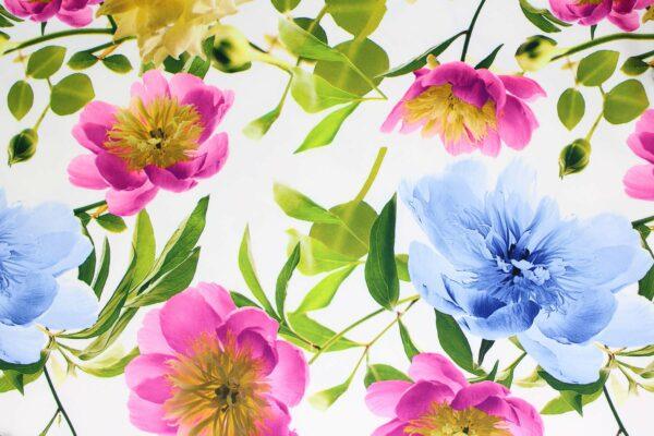 Tkanina Drukowana Sukienkowa Kwiaty Tło Ecru
