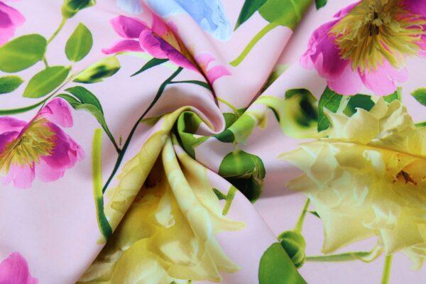 Ткань Принт Цветы Фон Розовый