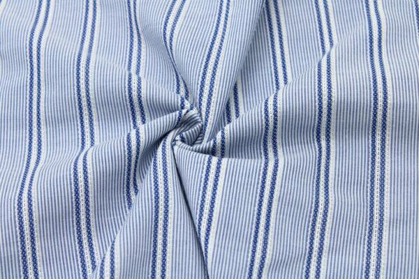 Tkanina Żakard Sukienkowa Bluzkowa Pasy Niebieski