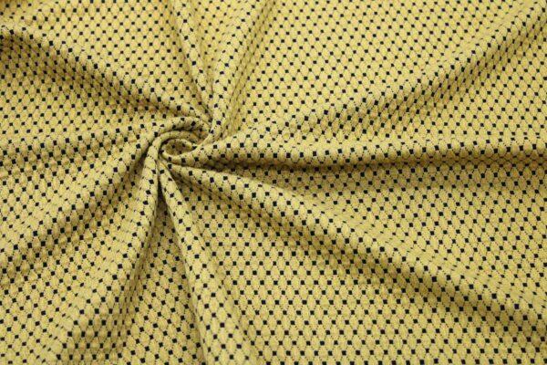 Dzianina Żakardowa Sukienkowa Na Spódnicę Geometryczny Wzór Romby Musztarda