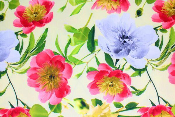 Tkanina Drukowana Sukienkowa Kwiaty Tło Żółte