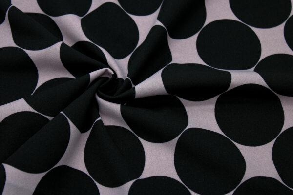 Dzianina Drukowana Sukienkowa Spódnice Grochy Czarne Tło Cappucino