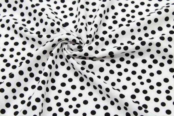 Tkanina Drukowana Bluzkowa Czarne Grochy Białe Tło