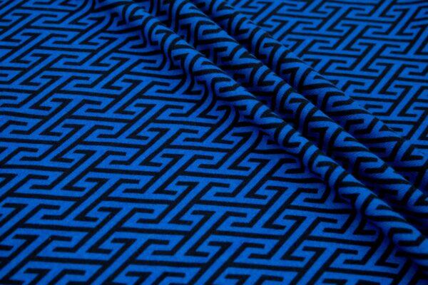 Dzianina Drukowana Sukienkowa Na Spódnicę Geometryczny Wzór Chabrowy Czarny