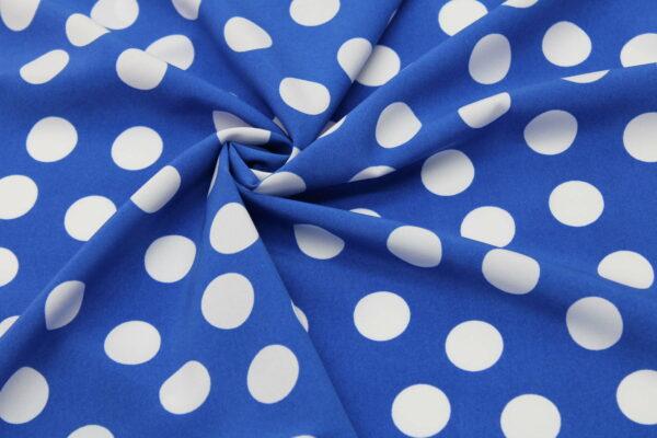 Tkanina Drukowana Bluzkowa Białe Grochy Niebieskie Tło