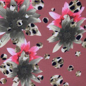 Tkanina Szyfon Drukowany Kwiaty Panterka Tło Ceglane
