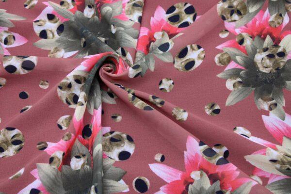 Ткань Шифон Принт Цветы Леопардовый Фон Ceglane