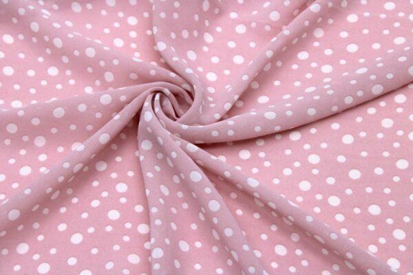 Tkanina Szyfon Drukowany Białe Groszki Pudrowy Róż