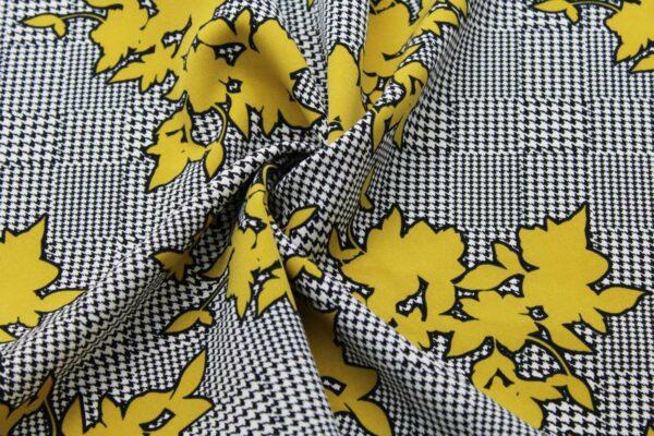 Ткань Принт Гусиная Лапка Цветы Горчица