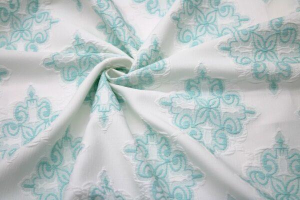Tkanina Żakardowa Sukienkowa Na Spódnicę Geometryczny Wzór Miętowy Tło Ecru