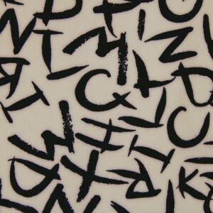 Ткань Принт Буквы Бежевый Фон