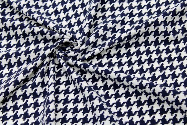 Tkanina Drukowana Bluzkowa Pepitka Ecru Granat