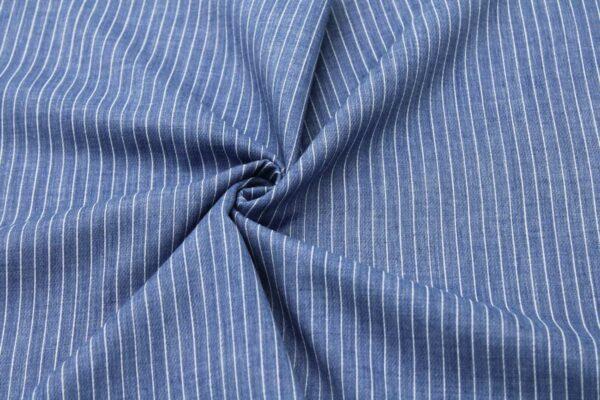 Ткань Принт Полоски Джинсовый