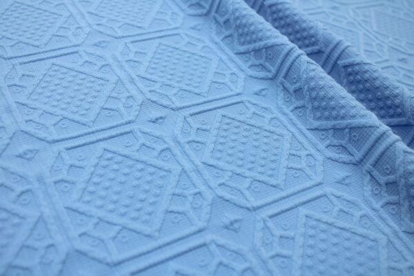 Tkanina Żakardowa Sukienkowa Na Spódnicę Geometryczny Wzór Niebieski