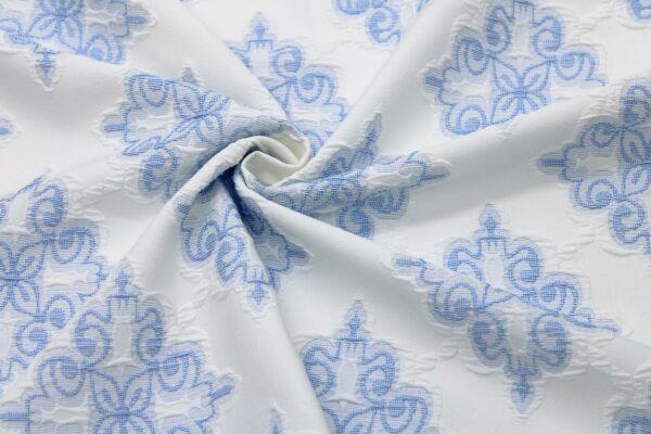 Tkanina Żakardowa Sukienkowa Na Spódnicę Geometryczny Wzór Niebieski Tło Ecru