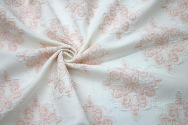Tkanina Żakardowa Sukienkowa Na Spódnicę Geometryczny Wzór Pudrowy Tło Ecru
