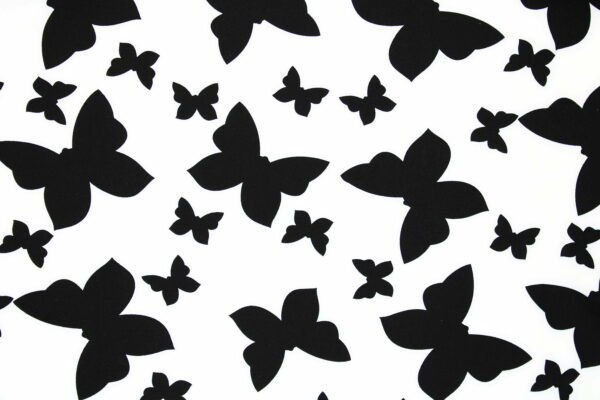 Tkanina Drukowana Bluzkowa Czarne Motylki Białe Tło