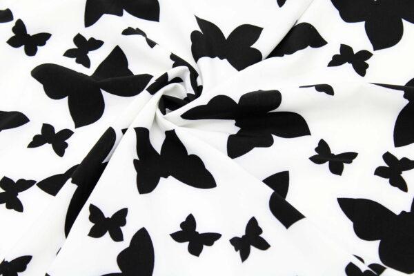 Ткань Принт Чёрный Бабочки Белый Фон