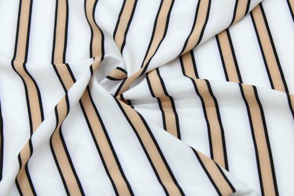 Tkanina Drukowana Bluzkowa Beż Pasy Białe Tło