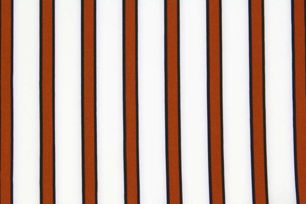Tkanina Drukowana Bluzkowa Rude Pasy Białe Tło