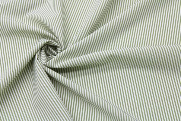 Tkanina Drukowana Bluzkowa Khaki Paski Białe Tło