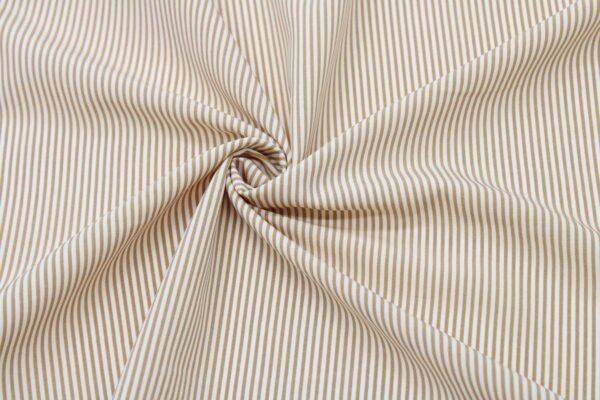 Tkanina Drukowana Bluzkowa Kamel Paski Białe Tło
