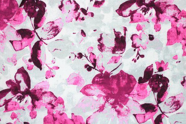 Tkanina Drukowana Bluzkowa Róż Kwiaty Szare Tło