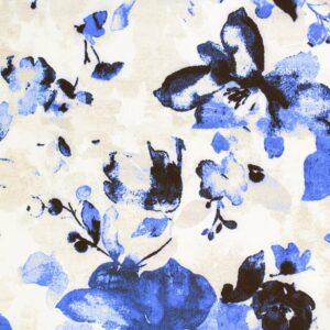 Tkanina Drukowana Bluzkowa Niebieskie Kwiaty Beż Tło