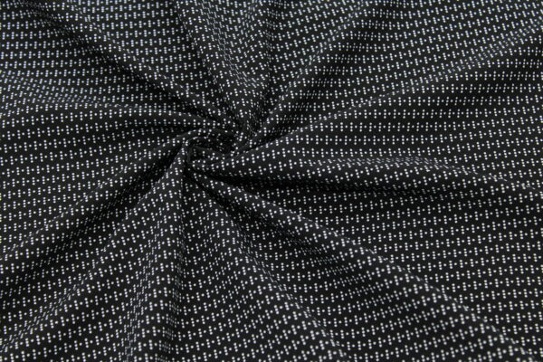 Ткань Принт Белые Горошки Фон Чёрный