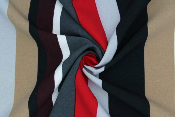 Tkanina Drukowana Sukienkowa Garniturowa Paski Czerwony Bordo Czarny Kamel