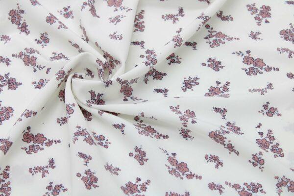 Tkanina Drukowana Bluzkowa Puder Kwiatki Ecru Tło