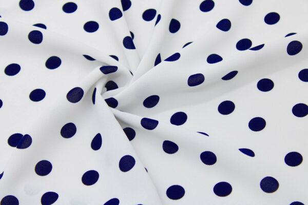 Tkanina Drukowana Bluzkowa Sukienkowa Granat Grochy Białe Tło