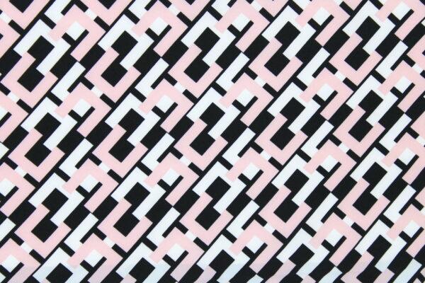 Tkanina Drukowana Bluzkowa Róż Czarny Geometryczny Wzór