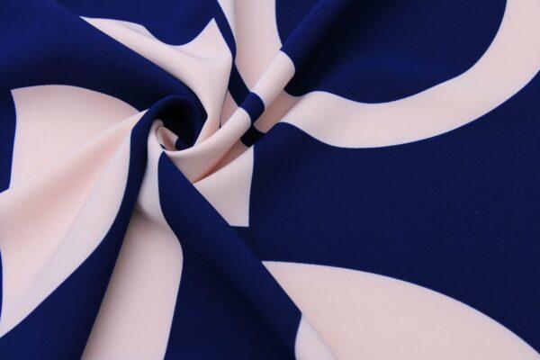 Tkanina Drukowana Sukienkowa Garniturowa Geometryczny Wzór Granat Róż