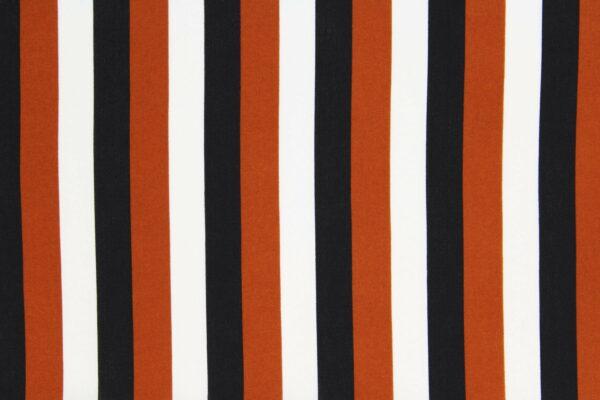 Ткань Принт Полоски Рыжий Черный Молочный