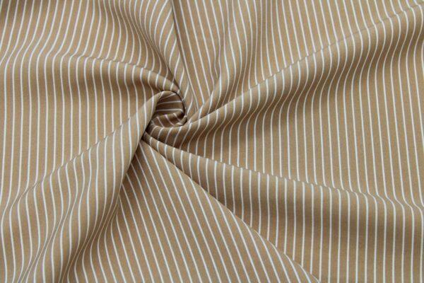 Tkanina Drukowana Sukienkowa Garniturowa Paseczki Biały Kamel