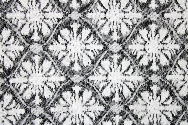 Dzianina Swetry Czarny Biały Kwiaty Romby