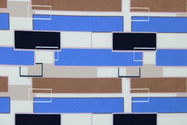 Tkanina Drukowana Bluzkowa Geometryczny Wzór Kamel Niebieski