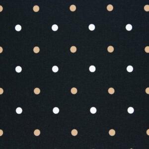 Ткань Принт Молочный Камель Горошки Чёрный Фон