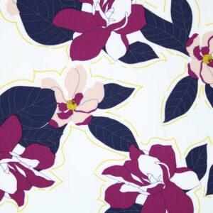 Ткань Принт Цветы Фиолетовый Фон Молочный